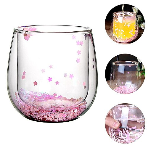300ml Drinking Mug Double Wall Glass Cup with Romantic Confetti Glitter