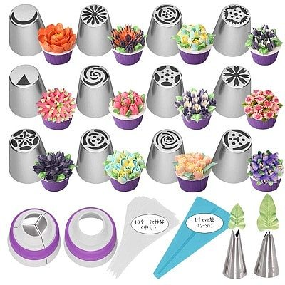 1 Set Russian Tulip Icing Piping Nozzles Stainless Steel Flower Cream Pastry Tips Nozzles Bag Cupcake Cake Decorating Tools