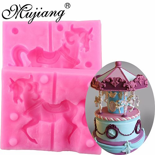 3D Carousel Horse Silicone Candle Mold Clay Soap Molds Fondant Cake Decorating Tools Cupcake Chocolate Baking Moulds XL269