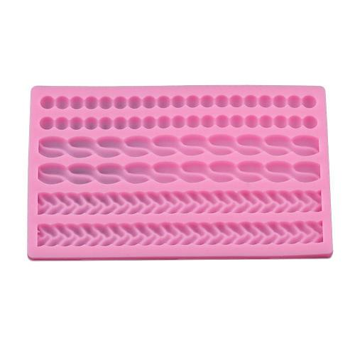 Knit Rope Silicone Pearl Shell Baked Dough Twist Fondant Sugar Gumpaste Cake Icing Decorating Tools Molds Mold Border N0D4