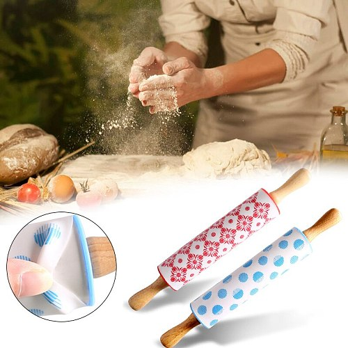 12 Inch Non-Stick Silicone Engraved Rolling Pin Cookie Fondant Roller Pastry Dough Flour Kitchen Baking Pastry Boards