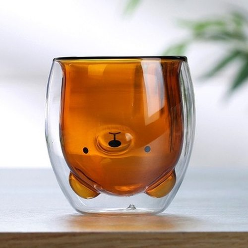 Lovely Panda Bear Innovative Double Wall Heat Resistant Beer Glasses Cup Morning Coffee Milk Juice Glass 3D 2-Tier  WJ820