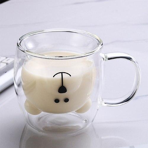 250ML 2-Tier 3D Creative Glass Mug Lovely Bear Innovative Beer Glasses Heat-resistant Double Wall Coffee Cup Milk Juice Mug