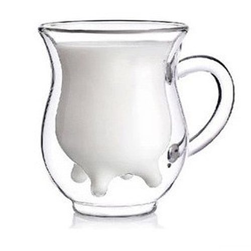 Child Baby's Milk Cup Milk Coffee COW Udder Shape Double Walled Clear Glass Milk Coffee Tea Mug Cup Handle Creative Cute Cup