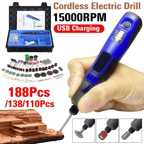 3 Speed Adjustable Cordless Electric Grinder Drill USB Charging Rotary Tool Engraving Pen With 110 /138/188Accessories