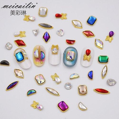 1 Pack Mix Color Flatback Glass Nail Rhinestones Diamond Teardrop Horse Eye Crystals Stones Shiny Gems Art Decorations Tool Set