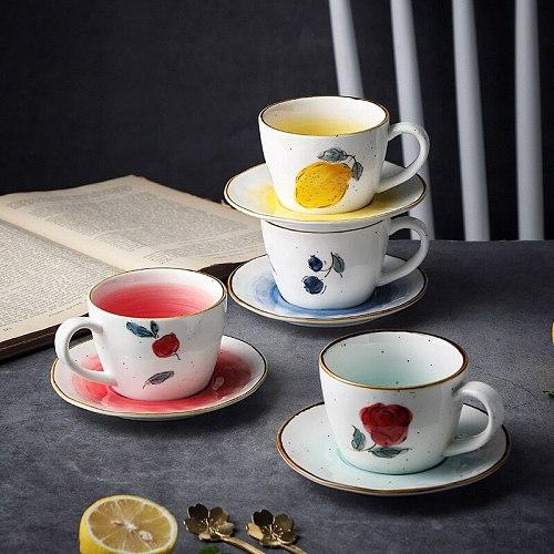 200ML Creative Retro Lemon Ceramic Coffee Cup and Saucer Set Japanese Afternoon Tea Net Red Milk Fruit Tea Mugs
