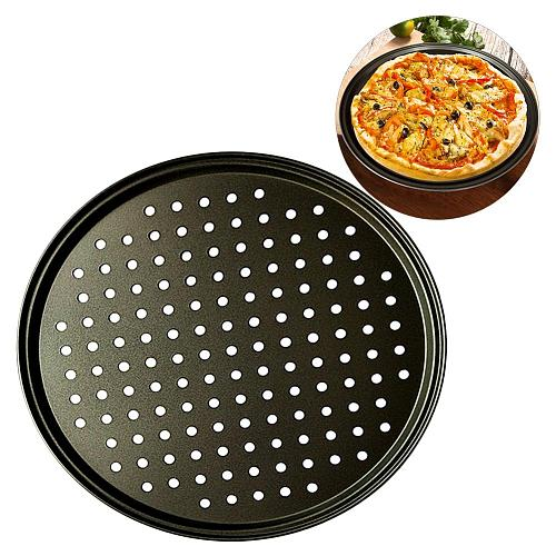 26/28/32CM Carbon Steel Non-stick Pizza Baking Pan Mesh Tray Plate Round Deep Dish Pizza Pan Tray Mould Bakeware Baking Tool