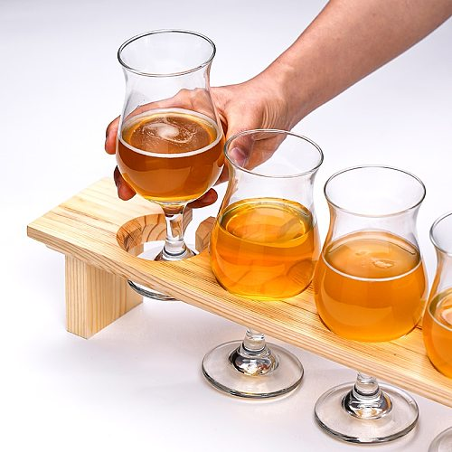 Internet Celebrity Pub Tulip Craft Brew Beer Glass 3 or 4 Pieces Set With Wood Tumbler Holder Steins Pilsner Glasses Cup For Bar