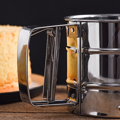 Stainless Steel Semi-automatic Flour Sifter 24 mesh Hand Held Filter Flour Sifter Cup Sugar Sifter Baking Tool