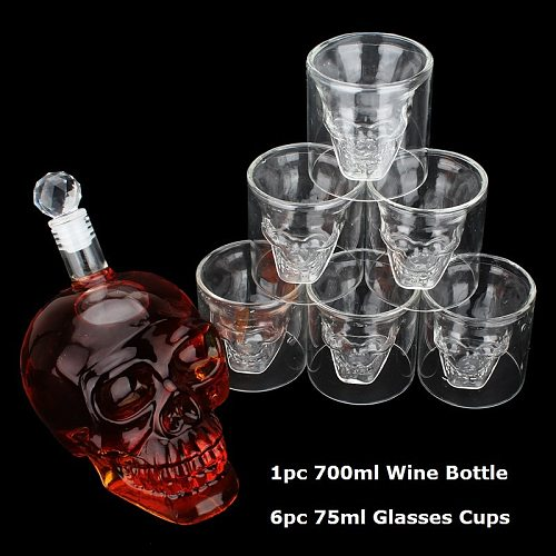 Crystal Skull Head Glass Cup Double Wall Glass Whisky Vodka Coffee Tea Cups Shot Glasses Set Bottle Bar Party Drinkware Tools
