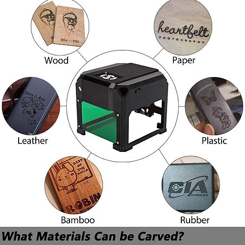 3000mW Laser Engraving Machine Mini Desktop Printer Working Area 80mmx80mm(33 in) for DIY Logo CNC Engraver Marking Wood Router