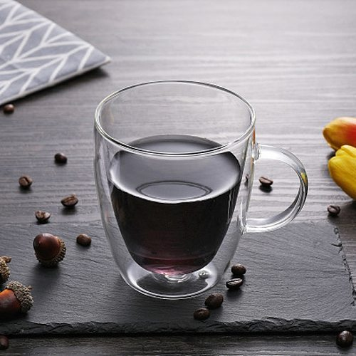 Transparent glasses Heat-resistant Double Glass Beer Handmade Milk Drinking Cup glass drinkware  glass coffee cup