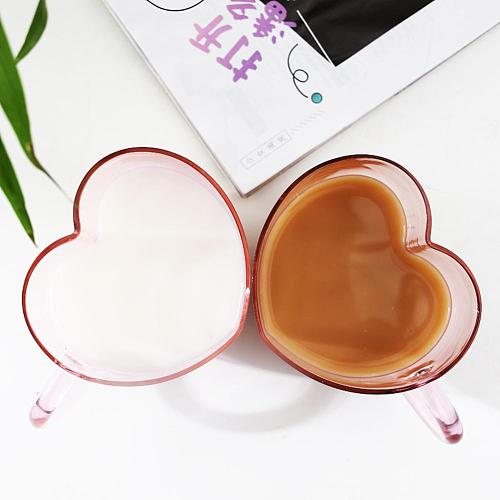 Couple Lover Single Glass Walled Heart Shaped Cup Juice Coffee Mug with Handle tazas de cafe vasos de vidrio