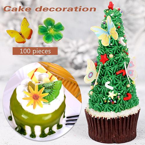 100PCS Butterfly Flower Shape Cake Baking Decoration Glutinous Edible Rice Paper Wafer Paper Cake Dessert Toppers Birthday Party
