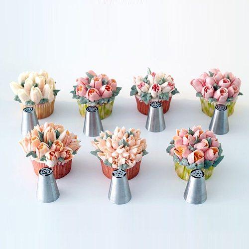 7Pcs/Set Russian Nozzles Tulip Tips Icing Piping Nozzles Cream Pastry Decorating Tips Set Cake Cupcake Decorator Confeitaria