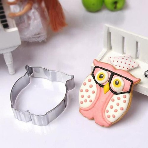Stainless Steel Owl Shape Baking Mold DIY Cartoon Biscuit Cookie Cutter Sugarcraft Fondant Cake Decorating Tools