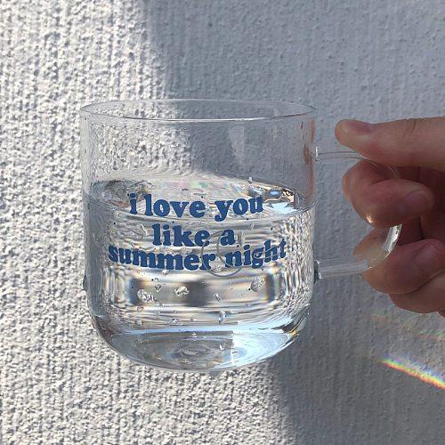 Transparent Glass Cup With Handle Korea Milk Coffee Mugs Juice Cup Gift Summer Creative Water Glass Drinkware Milk Yogurt Cups