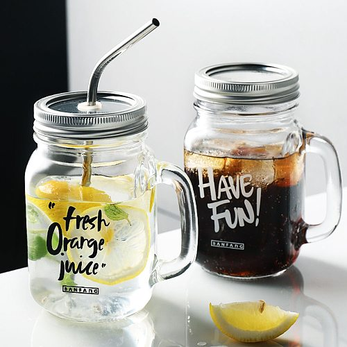 Creative Mason Glass Mug With Straw Replacement Cover Black White Letter Pattern Coffee Milk Juice Tea Cup Home Drinkware 480ml