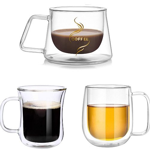 Double Wall Cups/Glasses Clear Coffee Mugs With Handle Insulation Double Bottomed Drinking Glass Creative Gift Tea Cup Drinkware