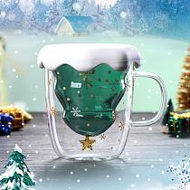 300ml Christmas Heat Resistant Double Wall Tea Coffee Glass Cup Mug Drinkware Glass Mugs Double Wall Glass Mug Drinkware