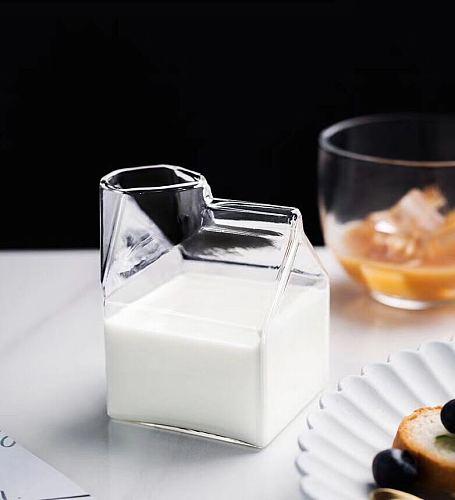 factory direct sale 350ml square creamer glass creamer cup creamer mug