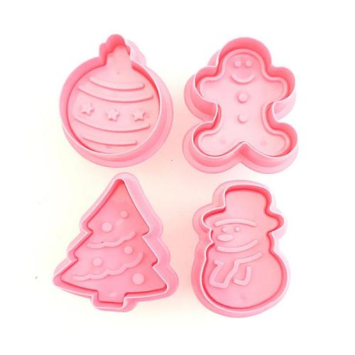 4Pcs/Set Food Grade Plastic Christmas Mold Cookie Cutter Kitchen Baking Tools Plunger Stamp Die Fondant Cake Decorating Tools