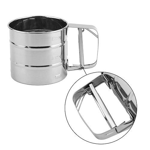 Hot Handheld Baking Cake Tool Stainless Steel Mechanical Baking Icing Sugar Shaker Sieve Cup Mesh Powder Flour Sieve Accessory