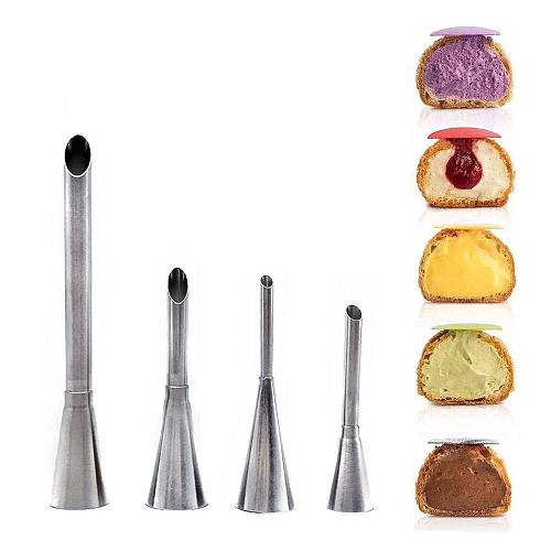 Eclairs Puff Nozzle Cupcake Injector Pastry Syringe Cream Piping Tip Nozzles Kit Cake Confectionery Equipment Decorating Tools
