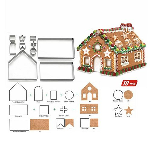 Stainless Steel Christmas House Cookie Mold DIY Baking Cookie Tools Biscuit Fondant Cutters Christmas Cookie Cutters