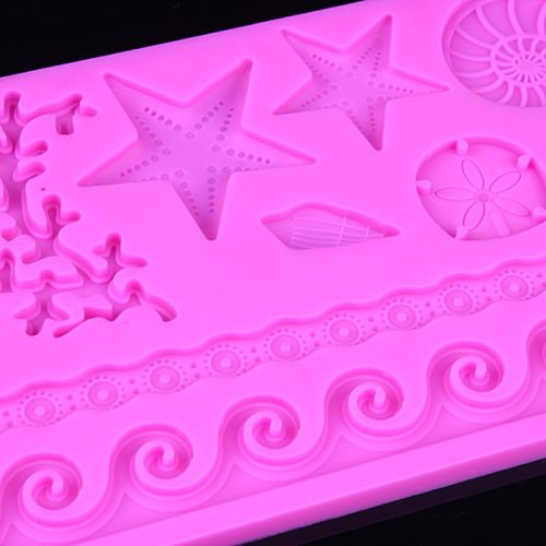 Hot Sale IH Seashell Conch Wave Star Fondant Cake Embossing Mould Decor Silicone Mold IE