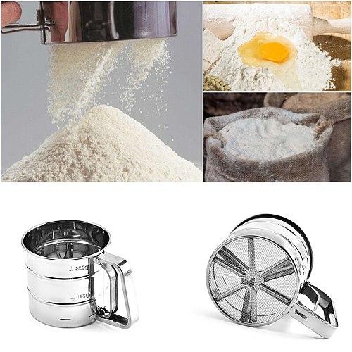 Stainless Steel Flour Sieve Cup Powder Sieve Mesh Kitchen Gadget For Cakes Hand-Screened Sugar Mesh Sieve Baking Sieve Strainer