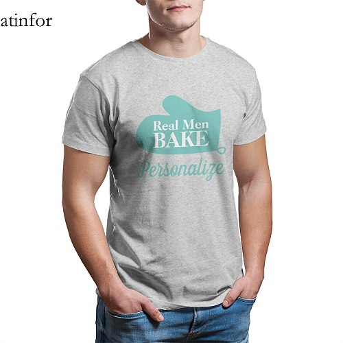 Real Men Bake funny oven mitt t shirt for men Punk Graphic Oversized Round Collar Hip-Hop Tees 25679