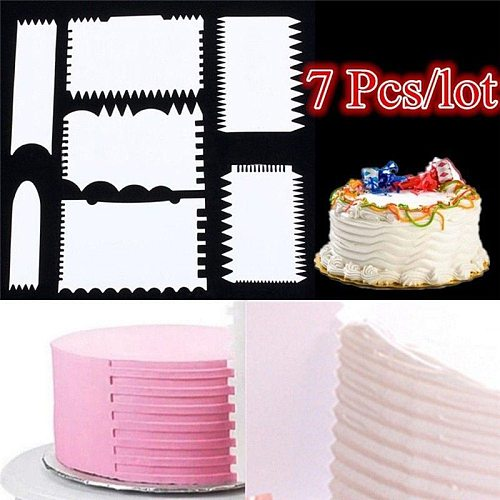 7 PCS Cake Scraper Cake Edge Decorating Tool Scrappers Cutters Smoother Baking Pastry Cutters Baking Spatulas Tools Molds