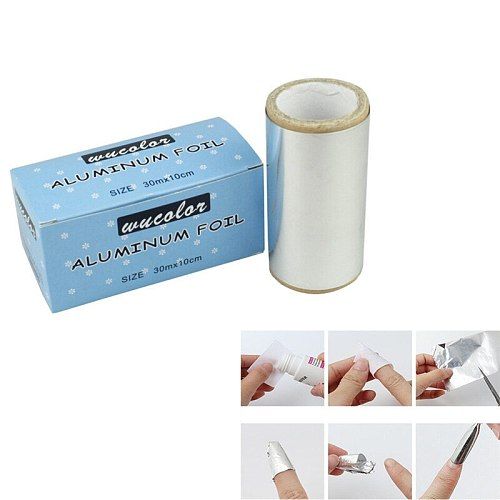 1 Roll Tin Foil Aluminum Paper Foil Thick Hairdressing Nail Art Tips Polish Remove Hair Standard Remover UV Gel Wraps