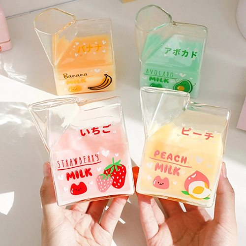 Cute milk glass mug Kawaii Square Carton Glasses Strawberry Breakfast Cup Transparent fruit Cups For Home Portable Student