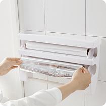 MeterMall Wall Mounted Roll Dispenser for Tin Foil Cling Film Kitchen Paper Spice Bottles Towel Holder Rack