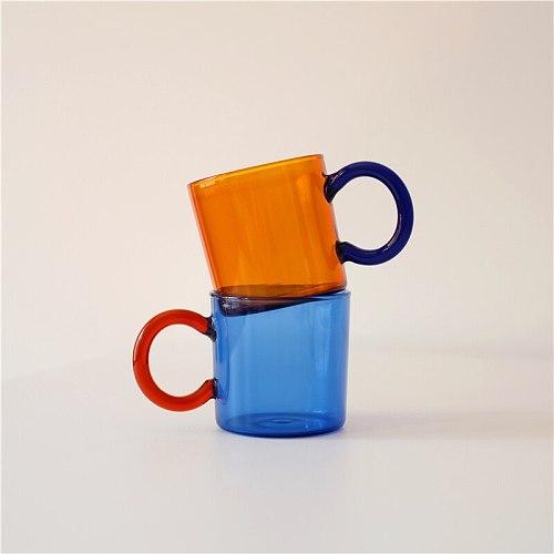 Vintage Thickened Travel Coffee Beer Mugs Cafe Drinkware Milk Tea Beer Glass Cup with Handle Waterbottle