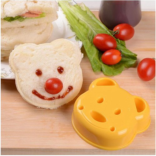 DIY Yellow Cute Bear Shape Design Sandwich Toast Bread Biscuits Embossed Device Cake Mold Making Cutter Mold Kitchen Tool