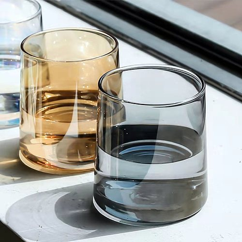 Nordic Style Ins Colorful Whiskey Glass Cup Coffe Mug Household Whiskey Glass Mug Transparent Water Glass Cup Drink Juice Glass