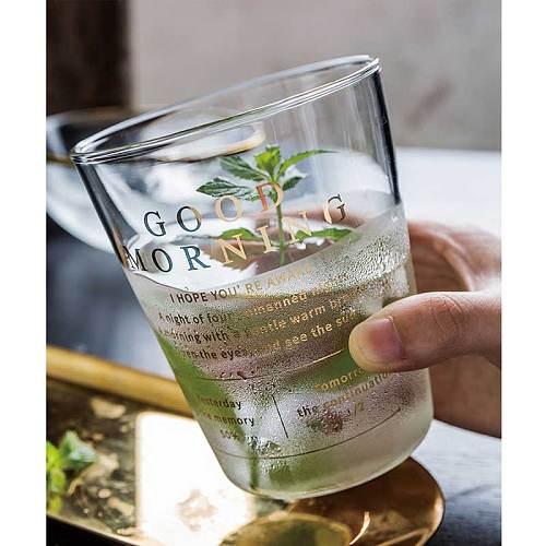 400ml Transparent Breakfast Glass Cup Gold Letter Printing Coffee Mug Milk Juice Flower Tea Cup Creative Home Office Drinkware