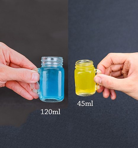 4 PCS Mini Mason Jar Mug Glass Shot Glass Set with Glass Handles, Whiskey Drinking Glasses/cups