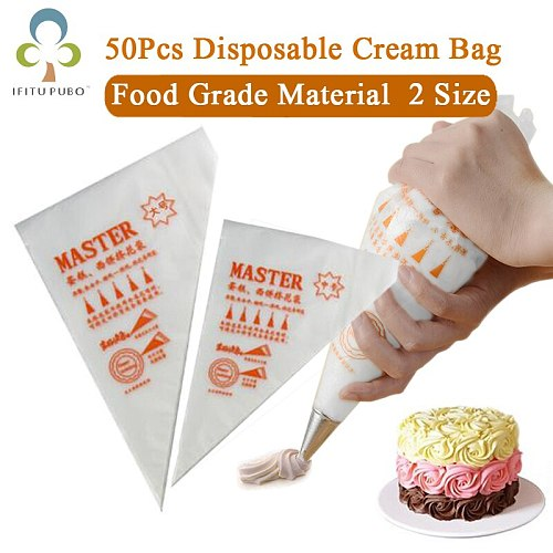 50pcs Disposable Piping Bag Pastry Bag Icing Piping Cake Cupcake Decorating Tool Bags Squeeze Cream Bag Dessert Decorators GYH