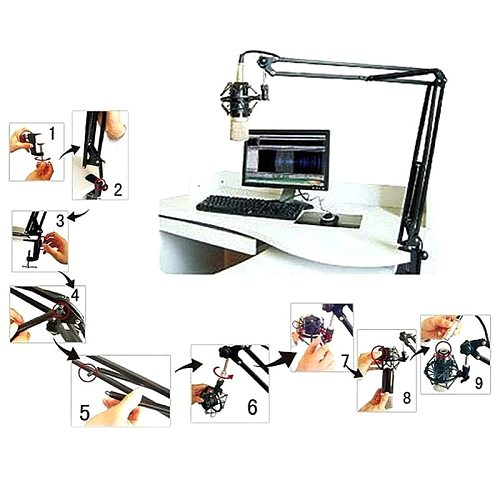 2021 New Mic Arm Stand Microphone Suspension Boom Scissor Holder For Studio Broadcast PN Drop Shipping Support