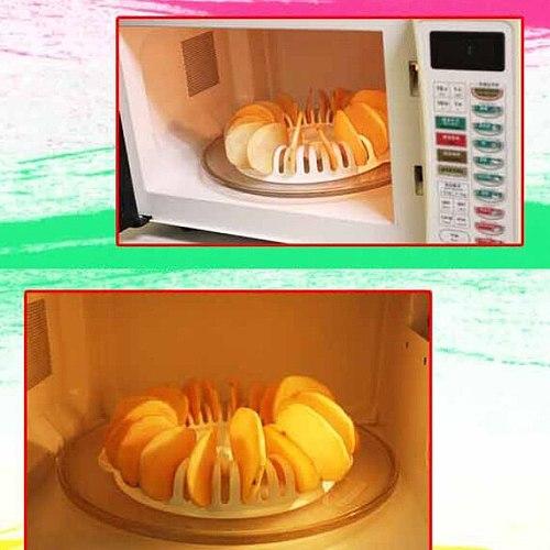Microwave Potato Chips Maker DIY Low Calories Oven Fat Free Apple chips Maker Kitchen Bakeware Tools Baking Pans Chips Rack