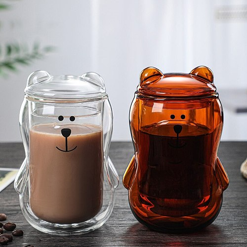300ml Cute Panda Bear Glass With Lid Water Coffee Milk Children Juice Cup Brown Transparent Double Layer