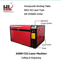 No Tax For US RECI 100W 1060L Laser Cutting Machine CO2 Laser Engravering Autofocus CW5000 Chiller 80F  Rotation Axis RDC6445