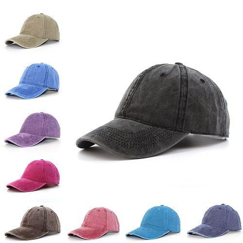 Washed Cotton Pure Color Light Board Men's Baseball Cap Multi-Color Optional Bone Cap Stitching Dad Hat