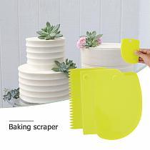 3pcs/set Plastic Dough Knife Baking Pastry Tools Icing Fondant Scraper Decorating Plain Smooth Spatulas Cutter Kitchen Cake Tool