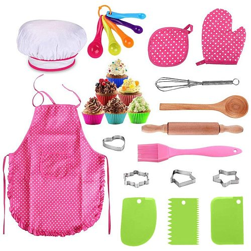25Pcs Chef Set for Kids Kitchen Cooking and Baking Kits Dress Up Role Play Toys Kitchen Utensils Cooking Pots Pans Food Dishes#3